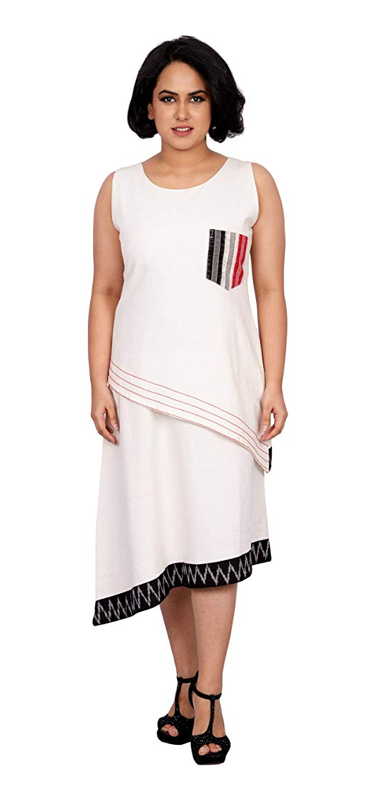 White Khadi - Layered Asymmetrical Dress - Kapaas N Resham