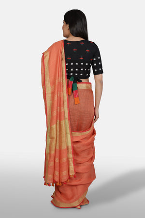 Linen Saree - Sunburnt Orange - Kapaas N Resham