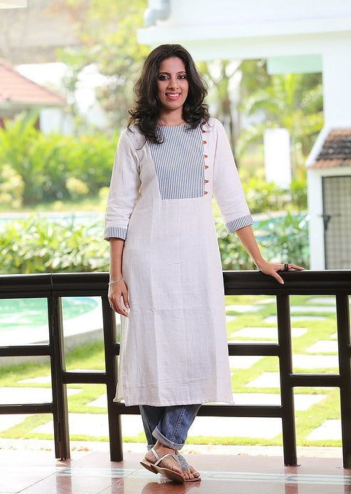 White Khadi Kurta with Striped Yoke - Kapaas N Resham