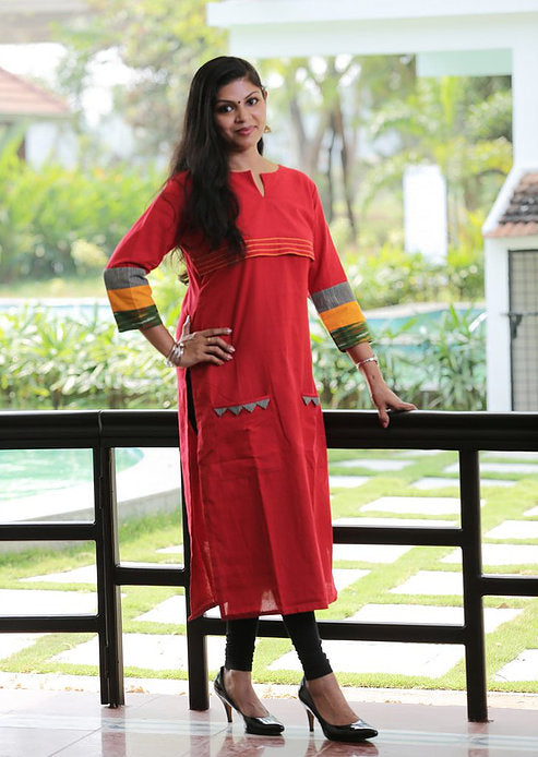 Red Ikat Kurta with Colorful Cuff - Kapaas N Resham