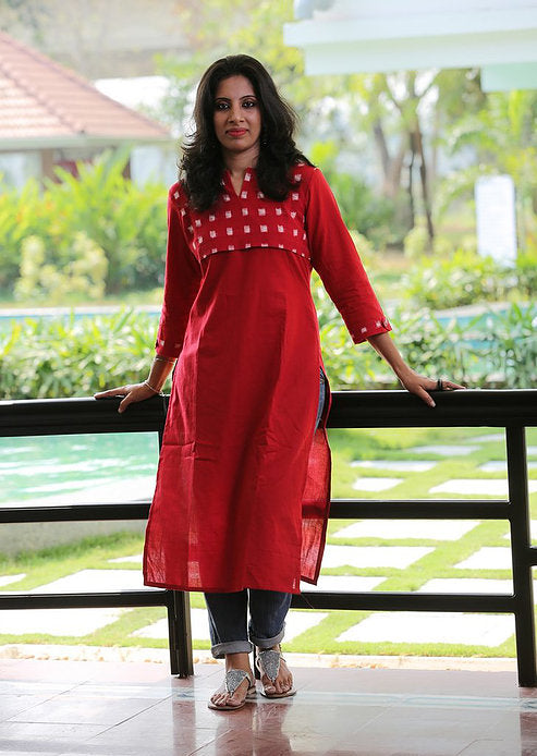 Red with Double Ikat Yoke - Kapaas N Resham