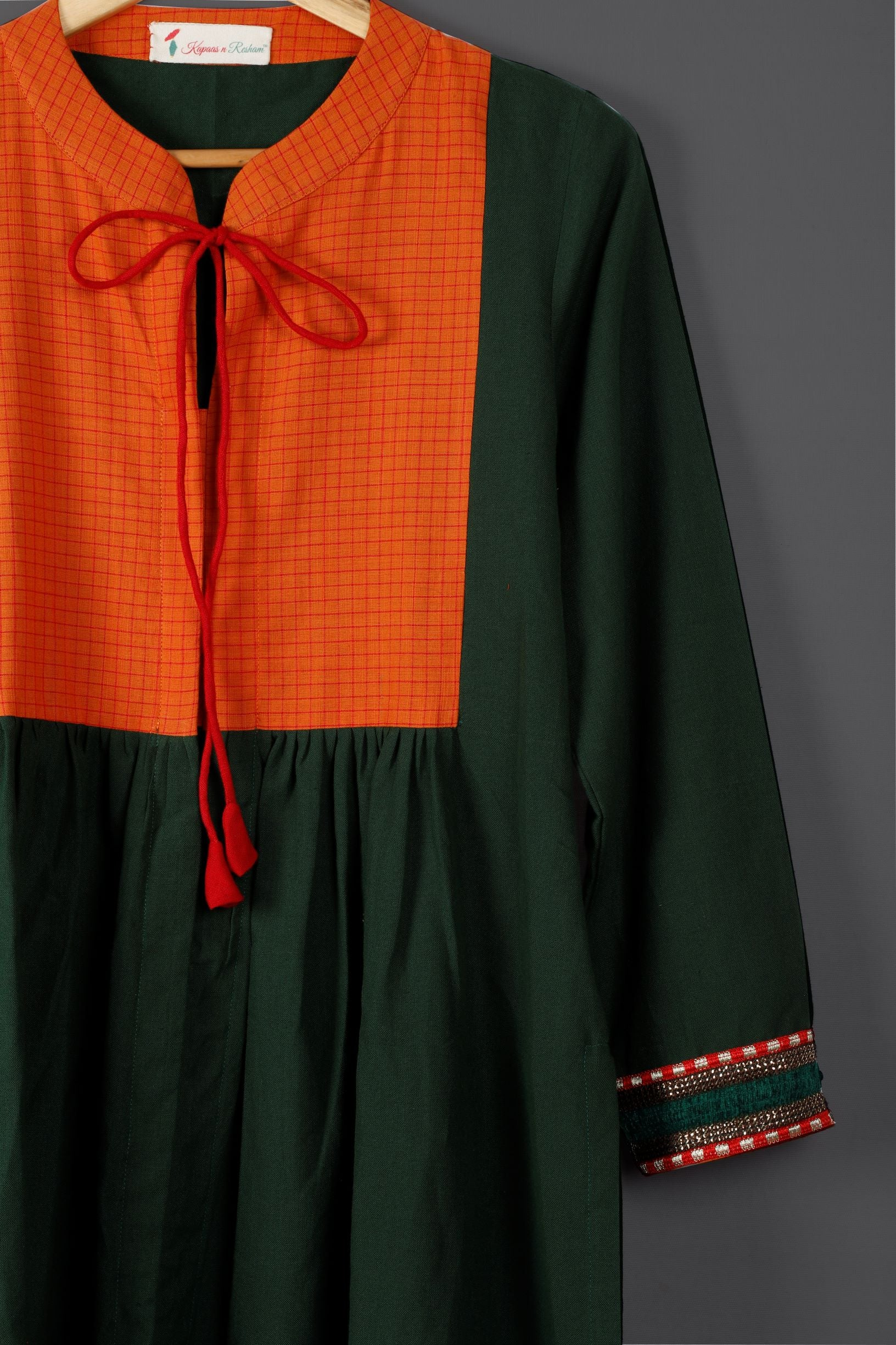 Green with orange yoke kurta - Kapaas N Resham