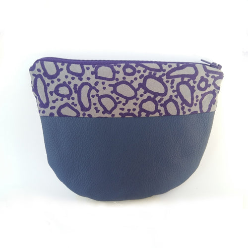 Blue Leather and Screen Printed Zippered Pouch