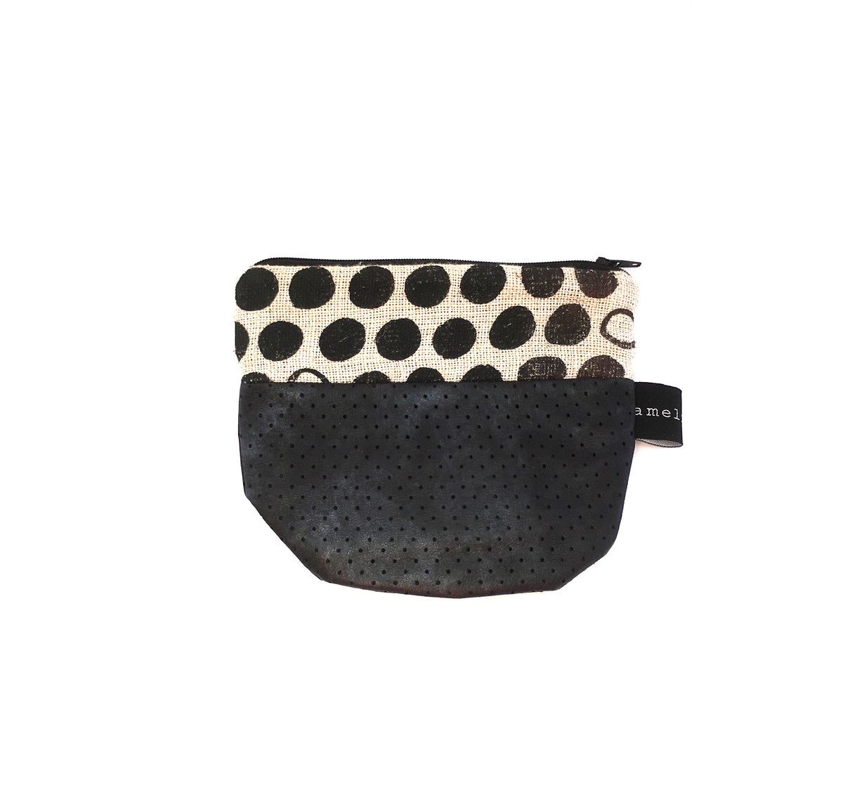 Unique Black Spotted Zipper Pouch