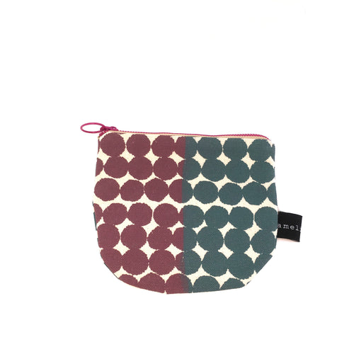 Screen Printed Zippered Pouch in Rose & Grey