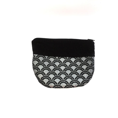 Screen Printed Black Leather Zippered Pouch