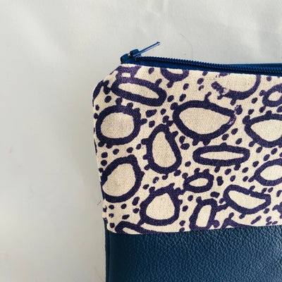 Pebble Print and Leather Zippered Pouch