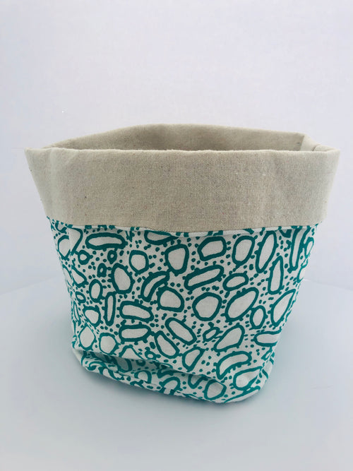 Green Pebble Print Fabric Bucket