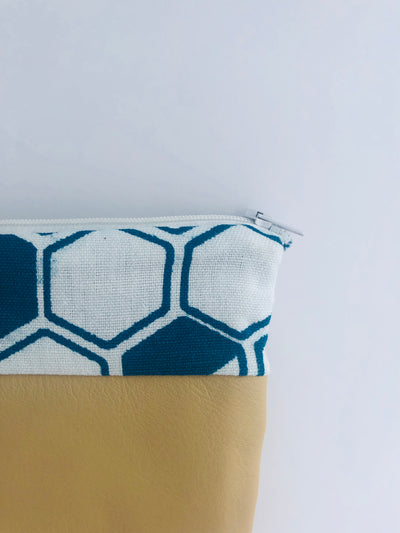Cream Leather & Teal Hexagon Print Zippered Pouch