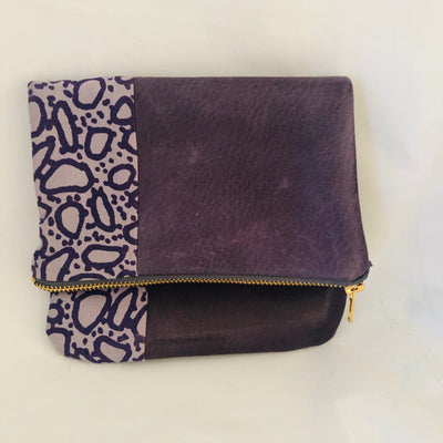 Purple Pebble Print Foldover Clutch