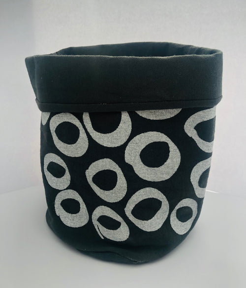 Grey Circle Print Fabric Bucket