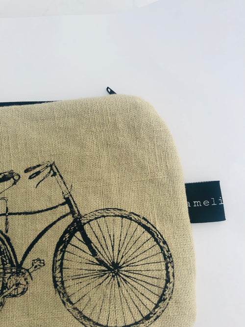 Linen Cycle Zippered Pouch