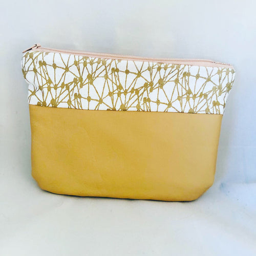 Cream Leather Printed Pouch