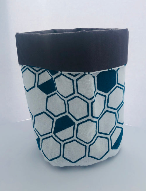 Teal Hexagon Print Fabric Bucket
