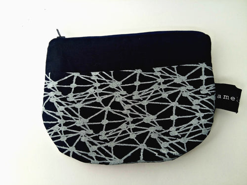 Cotton Zippered Pouch in Navy