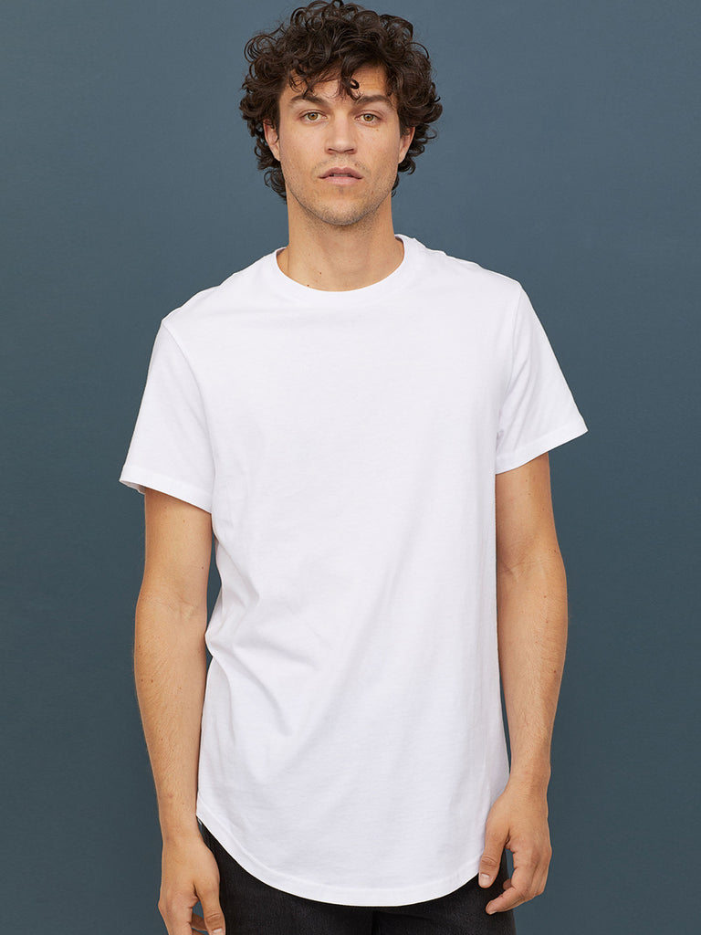 Men White Solid Long T-shirt