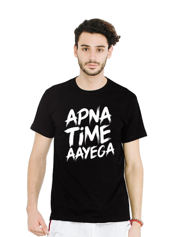 MEN'S COTTON APNA TIME AAYEGA BLACK T-SHIRT