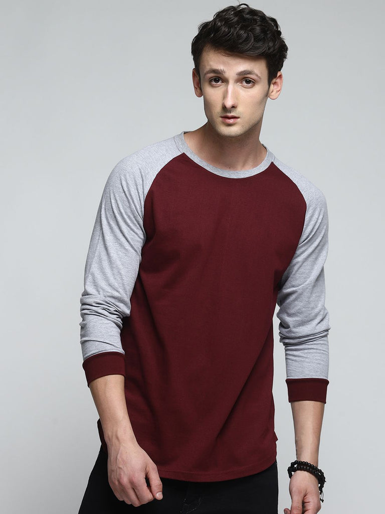 Men Grey & Maroon Panel Round Neck T-shirt