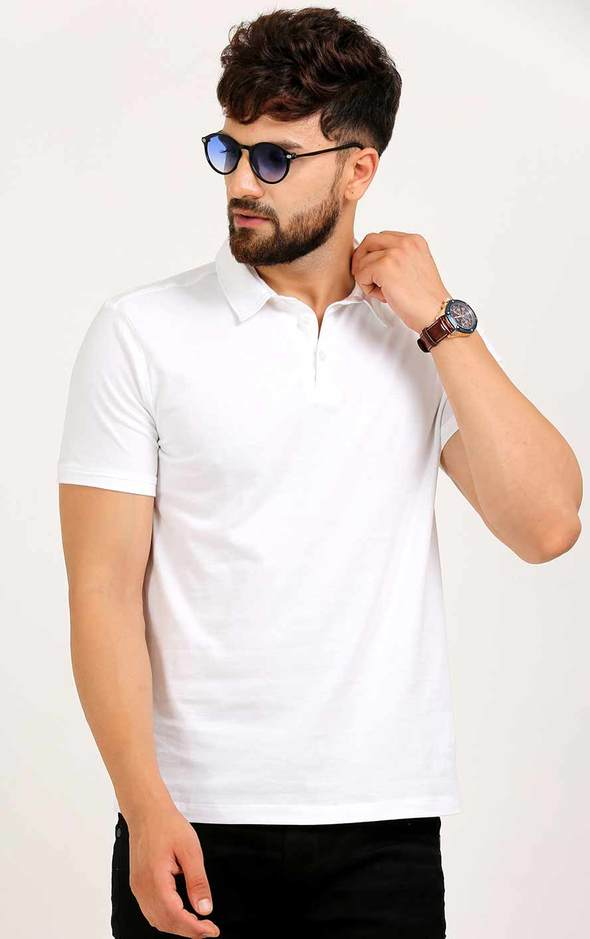 WHITE BASIC T SHIRT WITH COLLAR