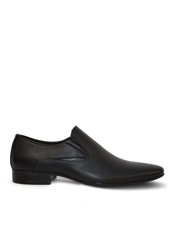 Men Black Genuine Leather Formal Slip-Ons