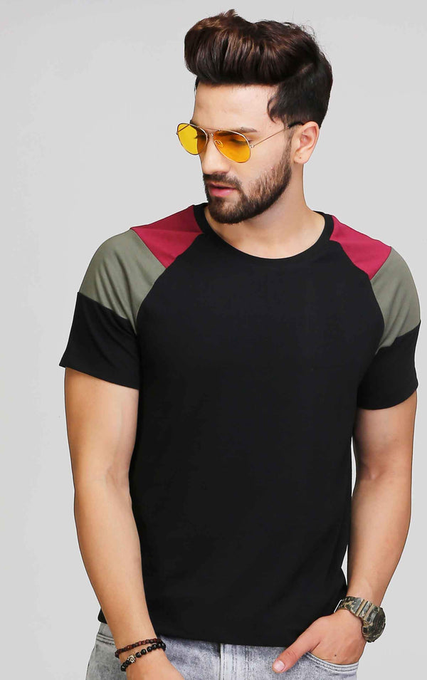 BLACK DESIGNER SLEEVE T SHIRT