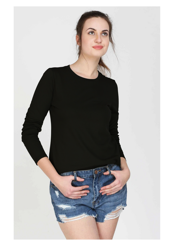 BLACK LONG SLEEVES WOMEN T SHIRT
