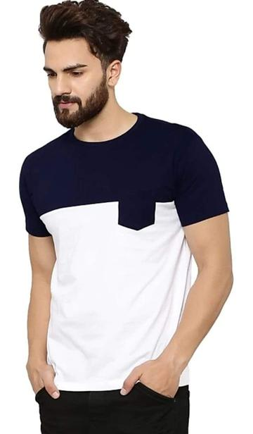 Solid Men's Round Neck Navy Blue Tshirt