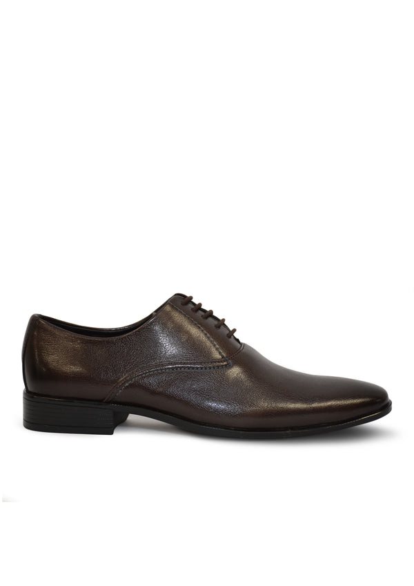 Men Brown Solid Leather Textured Formal Derbys