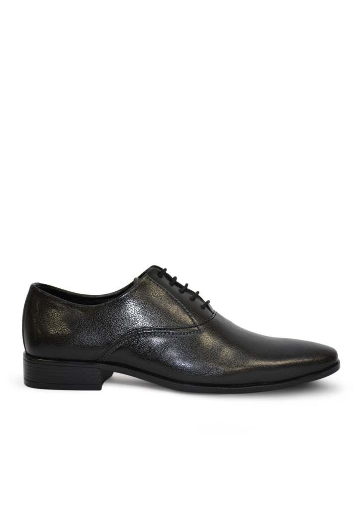 Men Black Solid Leather Textured Formal Derbys