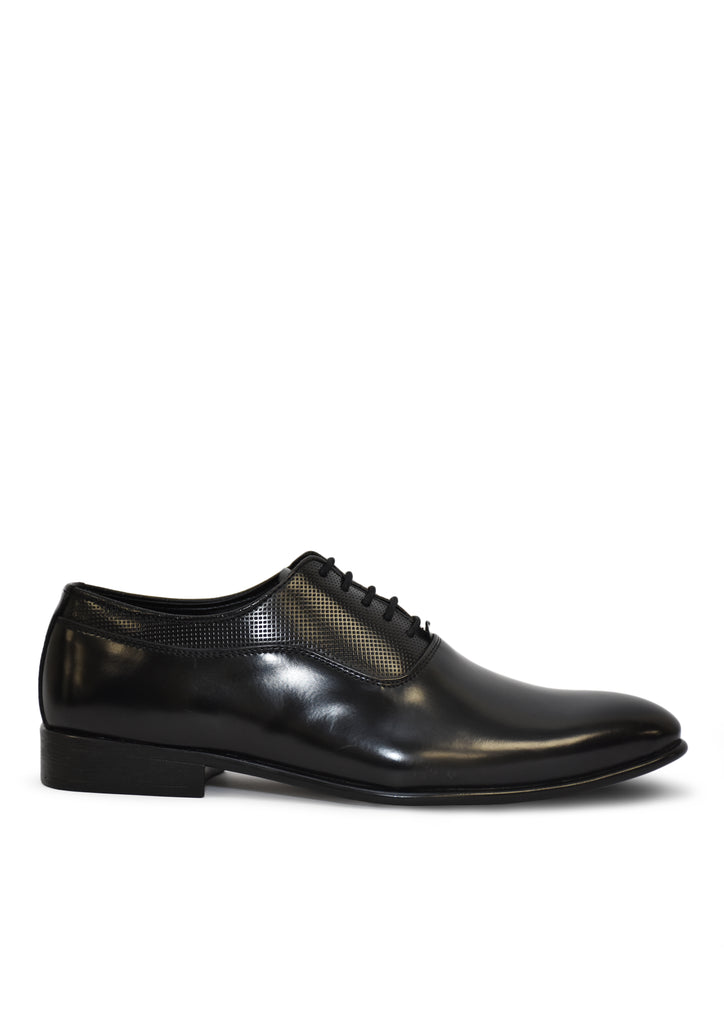 Men Regular Black Solid Leather Textured Formal shoes