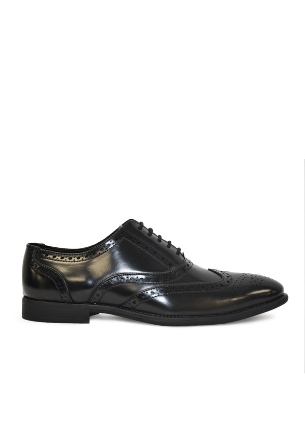 Men's Black Synthetic Leather Brogue Party Formal Shoes