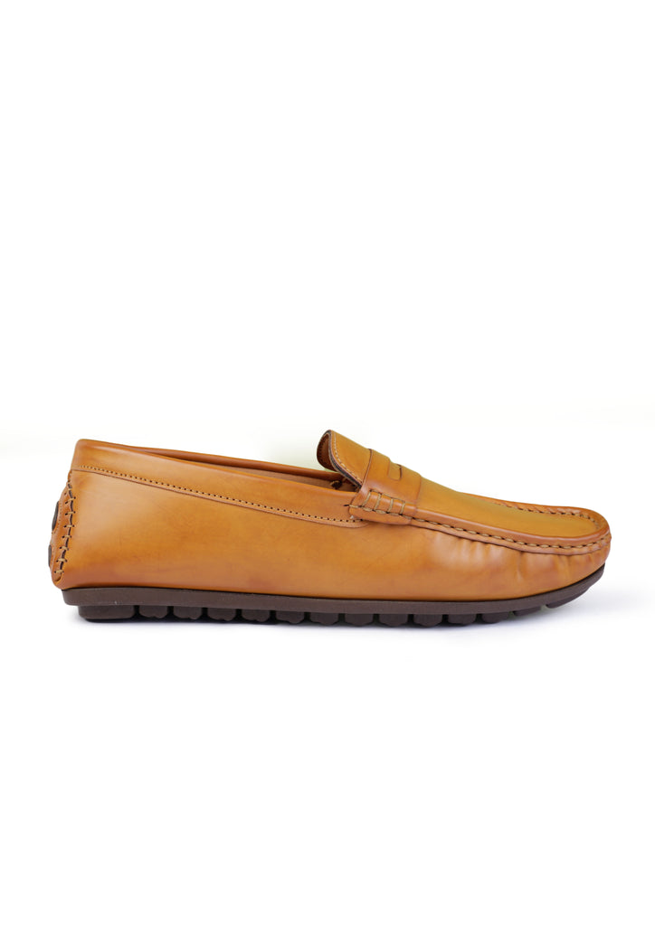 TAN LEATHER DRIVING SHOES