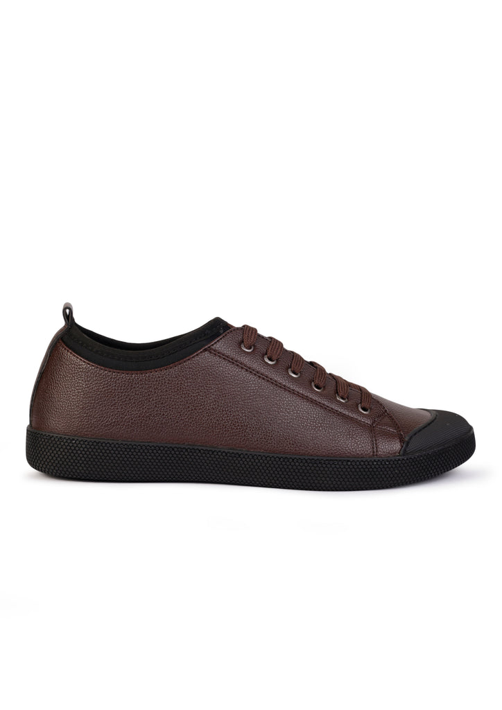 Textured Low-Top Sneakers with Toggle Closure Dark Brown