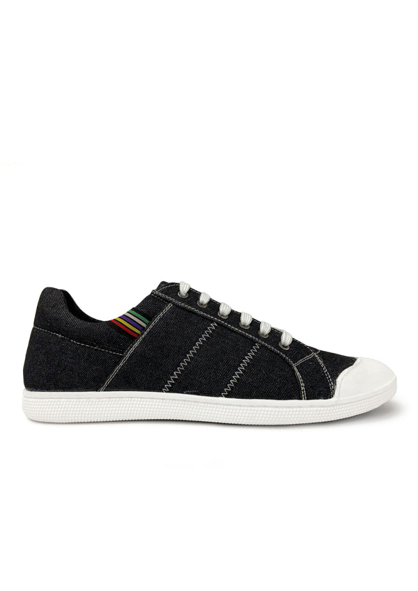 V E N U E Denim Textured Lace-up sneaker (BLACK)