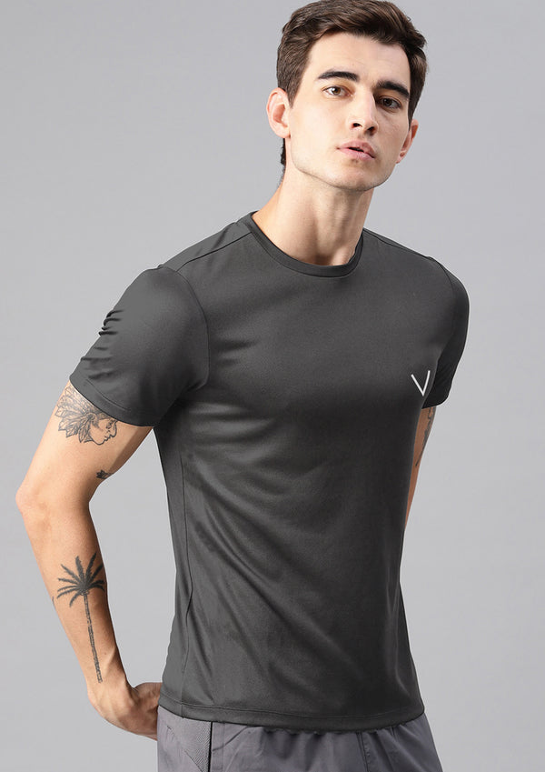 Men Grey Sports Regular Fit Half Sleeve Tshirt