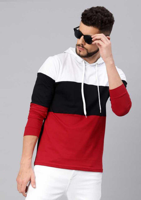 Color Block Men Hooded Black , White & Red T-Shirt