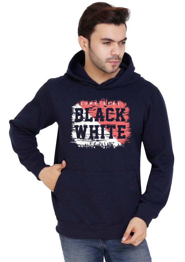 Men's Printed Blue Pullover EcoSmart Fleece Hooded Sweatshirt