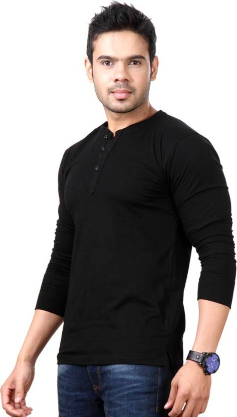 Top Notch Solid Men Henley Black T-Shirt
