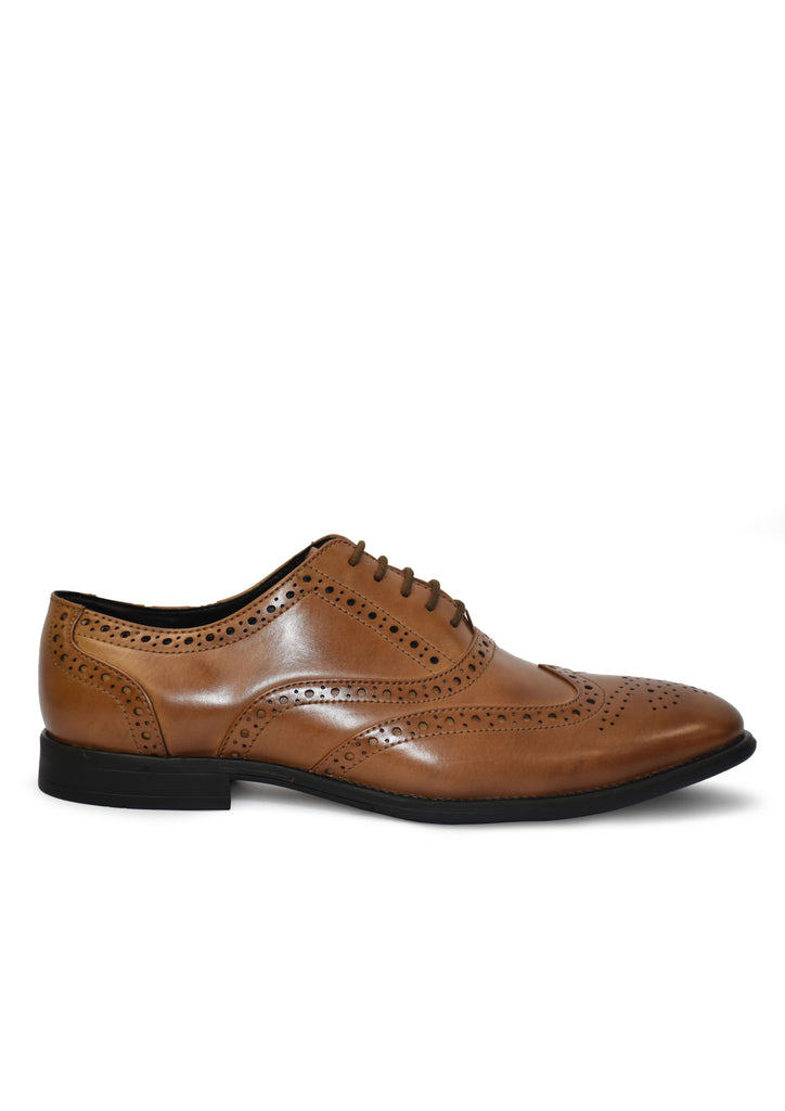 Men's Tan Synthetic Leather Brogue Party Formal Shoes
