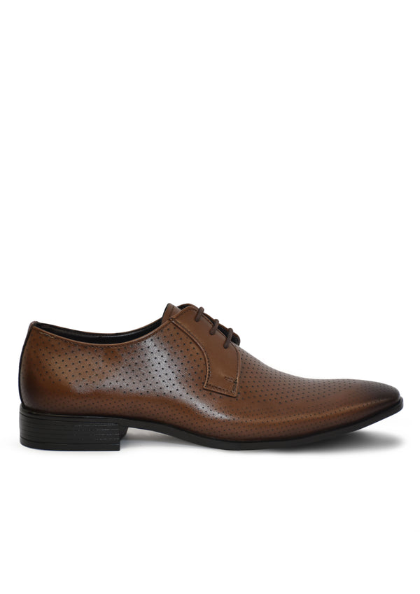 Men Tan Solid Leather Textured Formal Derbys