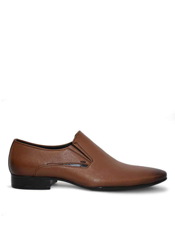 Men Tan Genuine Leather Formal Slip-Ons