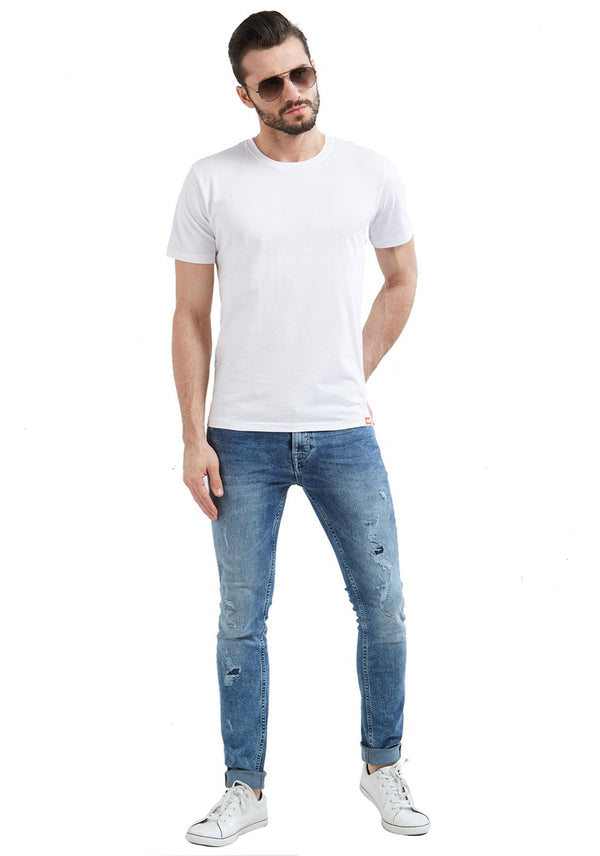 MEN'S COTTON WHITE T-SHIRT