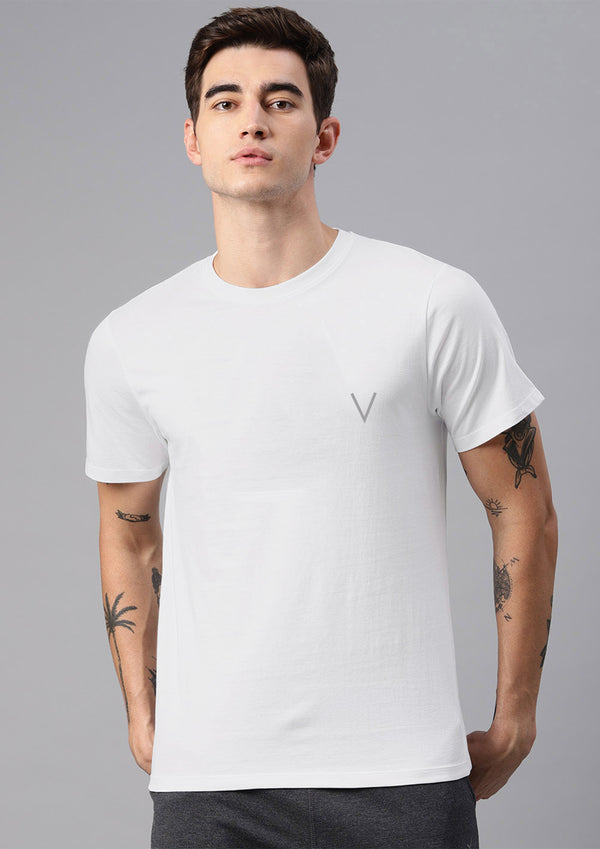 Men White Sports Regular Fit Half Sleeve Tshirt