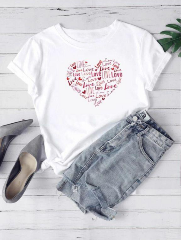 HEART GRAPHIC T-SHIRT FOR  WOMEN