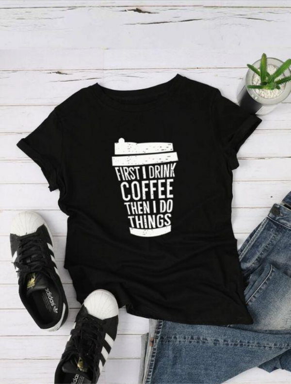 COFFEE GRAPHIC T-SHIRT FOR  WOMEN