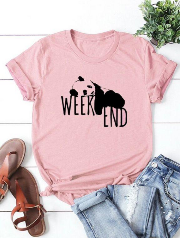 CUTE WEEKEND GRAPHIC T-SHIRT FOR  WOMEN