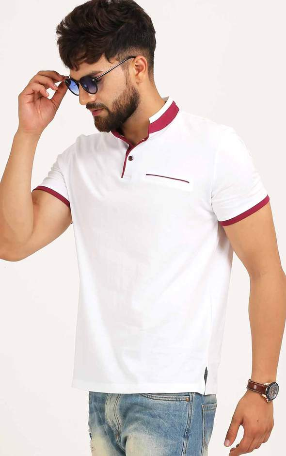 WHITE AND MAROON HENLEY NECK T SHIRT