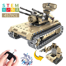 STEM Remote Control Building Kits, 2 in 1 Remote Control Tank DIY Assembly Building Block Vehicle,  457 Pieces Building Blocks Toys Top Birthday Gift for Boys and Girls - Ingooood_US