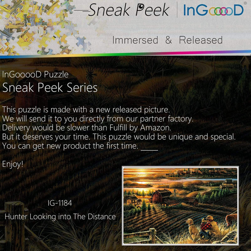 Ingooood-Jigsaw Puzzle 1000 Pieces-Sneak Peek Series-Hunter Looking into The Distance_IG-1184 Entertainment Toys for Adult Special Graduation or Birthday Gift Home Decor - Ingooood_US