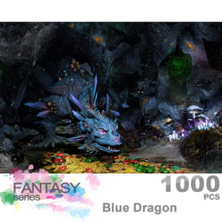 Ingooood Wooden Jigsaw Puzzle 1000 Pieces for Adult - Blue Dragon - Ingooood